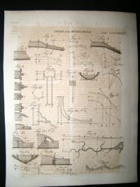 Science & Tech C1790 Antique Print. Theory of The Motions of Rivers 439